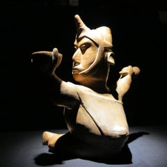 Pre-Columbian Colima Shaman terracotta figure vessel Mexican sculpture