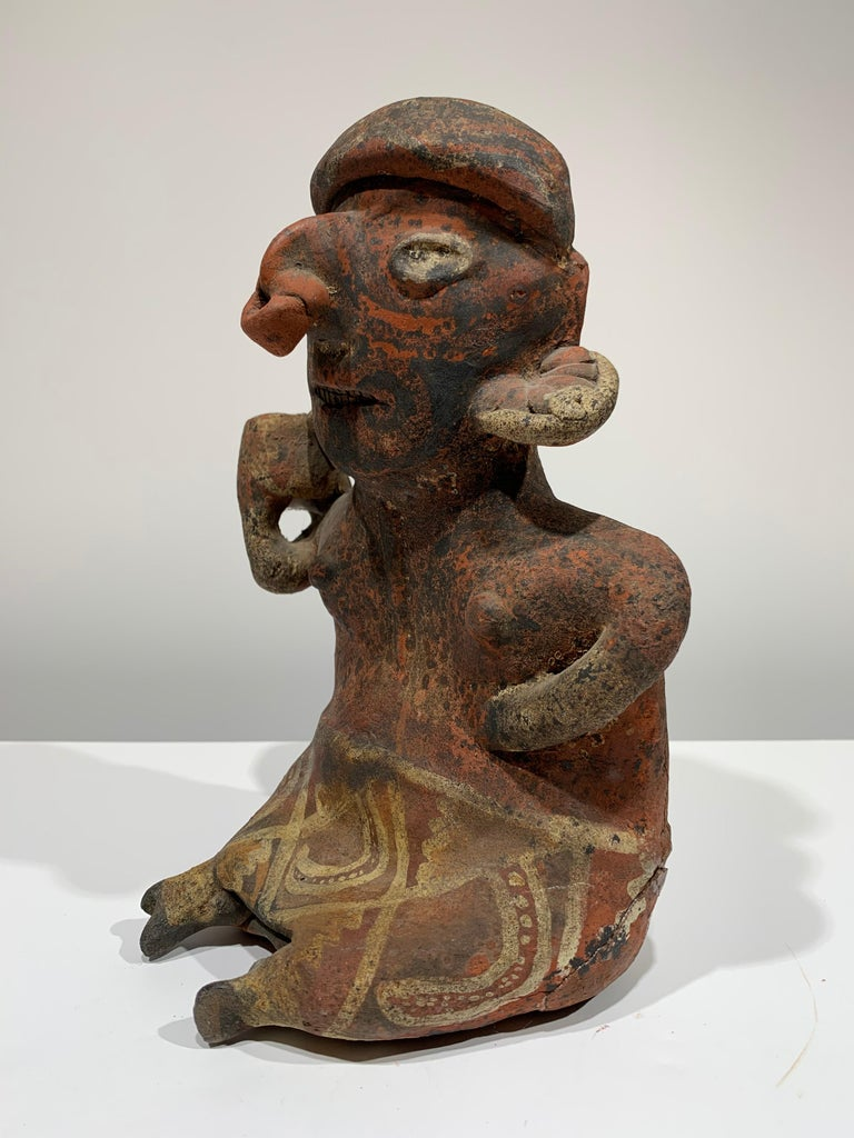 Pre-Columbian, West Mexico, Nayarit woman figural sculpture  - Gray Figurative Sculpture by Unknown