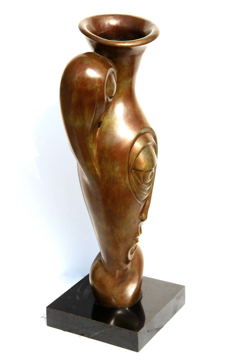 Artist: Unknown, possibly Russian Title: Profile Pitcher Medium: Bronze Sculpture with Patina Size: 26.5 in. x 9 in. x 5 in. (67.31 cm x 22.86 cm x 12.7 cm) Base: 2.5 x 10.5 x 10.5 inches