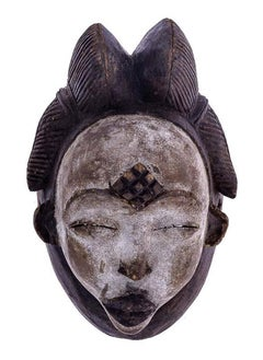 Punu African Tribal Face Mask Sculpture, Figure from Gabon, Early 20th Century