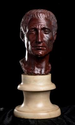 Red Antique Marble Figurative Nude Sculpture Portrait Head Roman Julius Caesar