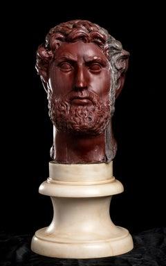 Red Antique Marble Figurative Sculpture Portrait Head  Roman Emperor Hadrian