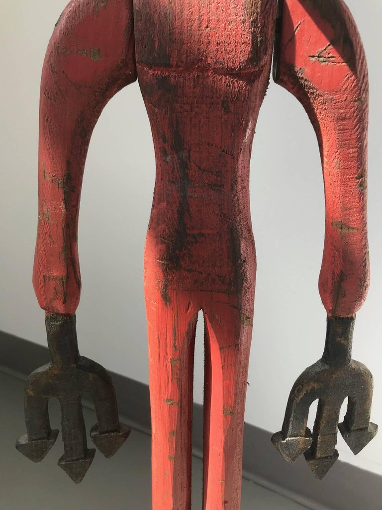 Red Devil - Folk Art Sculpture by Unknown