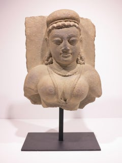 Relief with Bust of Goddess, Indian antique sculpture