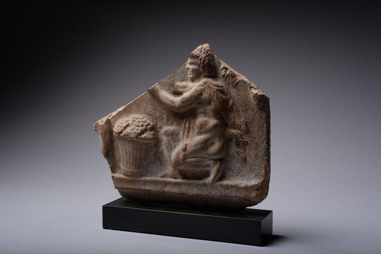 Roman Campana Relief of a Satyr Harvesting Grapes - Sculpture by Unknown