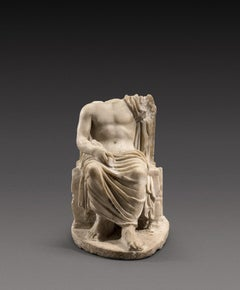 Roman Marble Sculpture of Jupiter seating on a throne, Antiquities, 2nd A-D