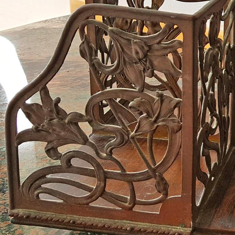 Rotating Art Nouveau Bookcase - Brown Abstract Sculpture by Unknown