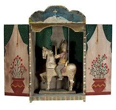 """Santiago in Nicho,"" Mexican folk art, carved & painted retablo"