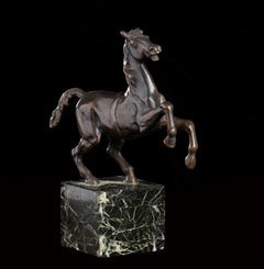 Sculpture Bronze Model Of a Rearing Horse Italian, 19th Century on Green Marble