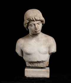 Sculpture Bust of Young Man in White Statuary Marble Italy on Marble Base