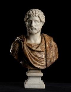 Sculpture Bust Portrait Of Roman Emperor Antoninus Pius Italian Marble Onyx