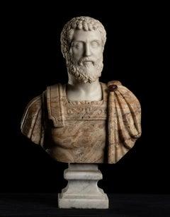 Sculpture Bust Portrait Of Roman Emperor Septimius Severus Italian Marble Onyx