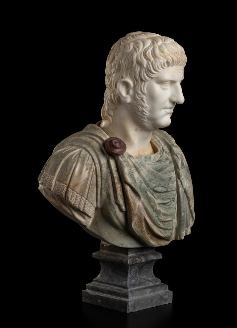 Sculpture Bust Roman Emperor White and Green Marble After the Antique Grand Tour - Black Figurative Sculpture by Unknown
