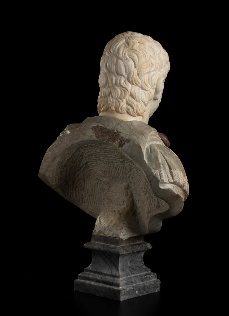 Sculpture Bust Roman Emperor White and Green Marble After the Antique Grand Tour For Sale 1