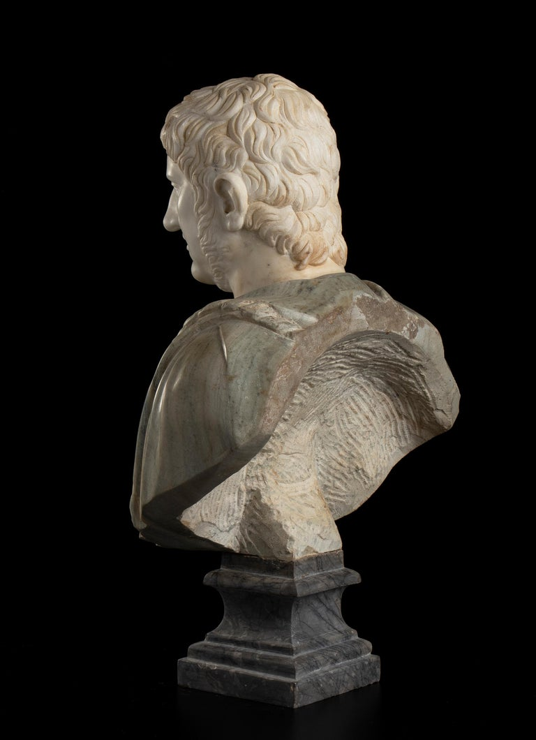 Sculpture Bust Roman Emperor White and Green Marble After the Antique Grand Tour For Sale 3