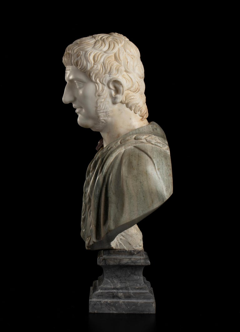 Sculpture Bust Roman Emperor White and Green Marble After the Antique Grand Tour For Sale 4
