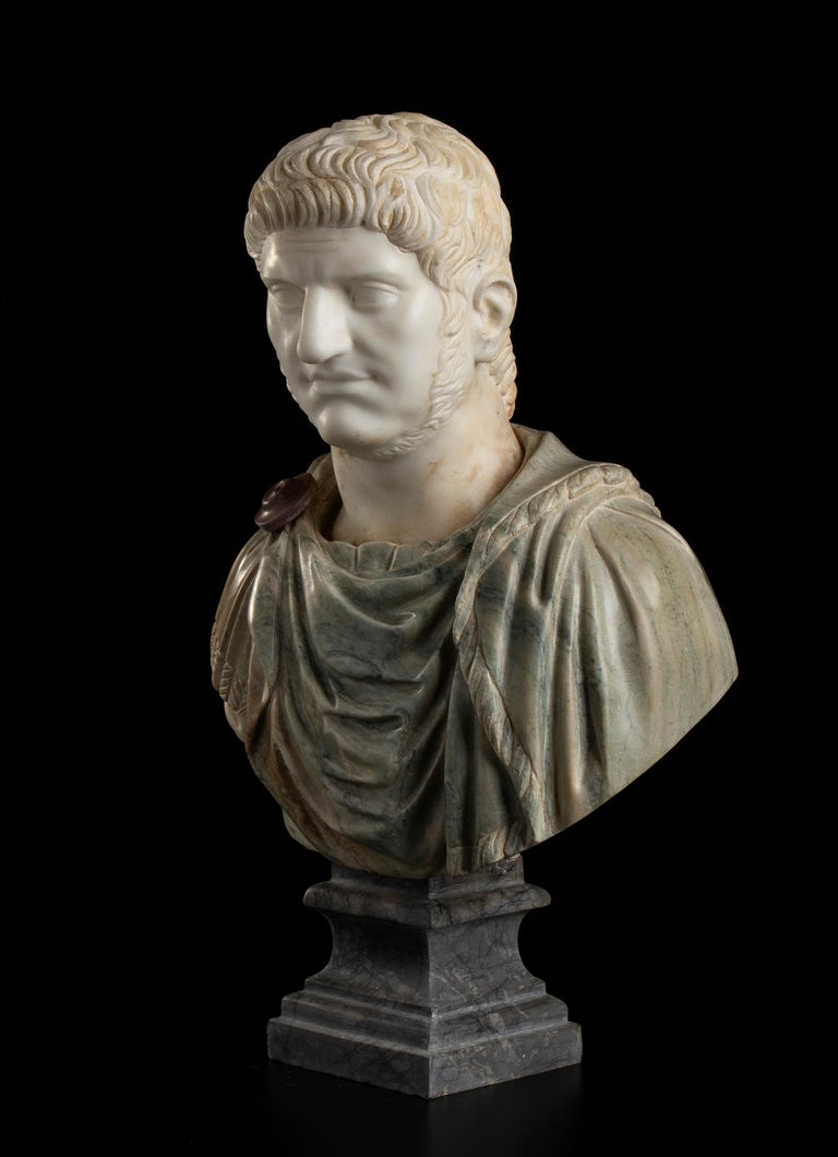 Sculpture Bust Roman Emperor White and Green Marble After the Antique Grand Tour For Sale 5
