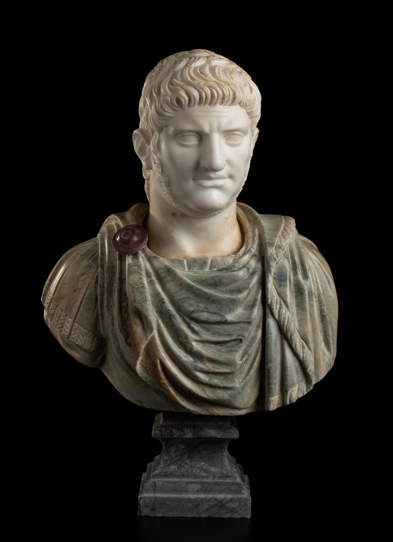 Unknown Figurative Sculpture - Sculpture Bust Roman Emperor White and Green Marble After the Antique Grand Tour