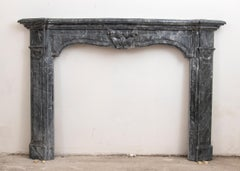 Sculpture Fireplace Marble Grey Bardiglio Mantel Louis XV Style Italian Ancient