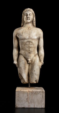 Sculpture Greek  Kouros White Marble After the Antique Grand Tour