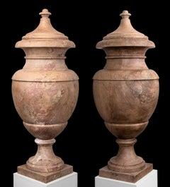 Sculpture Italian Red Rubin Marble 20th Century Pair of Neoclassical Vases