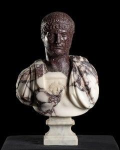 Sculpture Marble Bust Roman Emperor Nero Porphyry and Breccia Italian