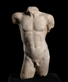 Sculpture  Marble Torso Classical Greek of Doryphoros After Polykleitos