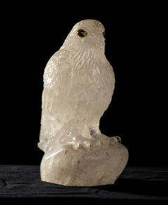 Sculpture of Eagle Carved From A Block Of Rock Crystal White Quartz