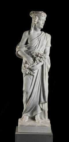 Sculpture of Woman Italian Statuary White Marble 19th Century
