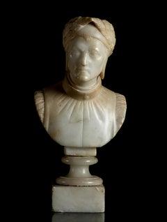 Sculpture Portrait Bust Of Dante Alighieri Italian White Alabaster Grand Tour