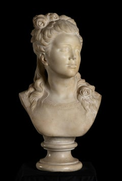 Sculpture Portrait of Young Woman White Marble France 19th Century Neoclassical