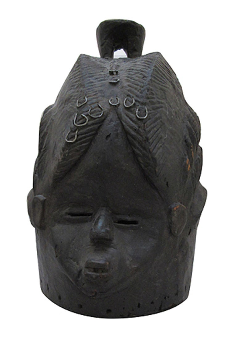 "Unknown Figurative Sculpture - ""Secret Society Mask-Sierra Leone W. Africa,"" Wood created circa 1930"