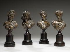 Set of Four Bronze Mythological Women Busts France 19th Century