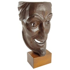 Signed Hand Carved Grotesque Wood Mask Sculpture