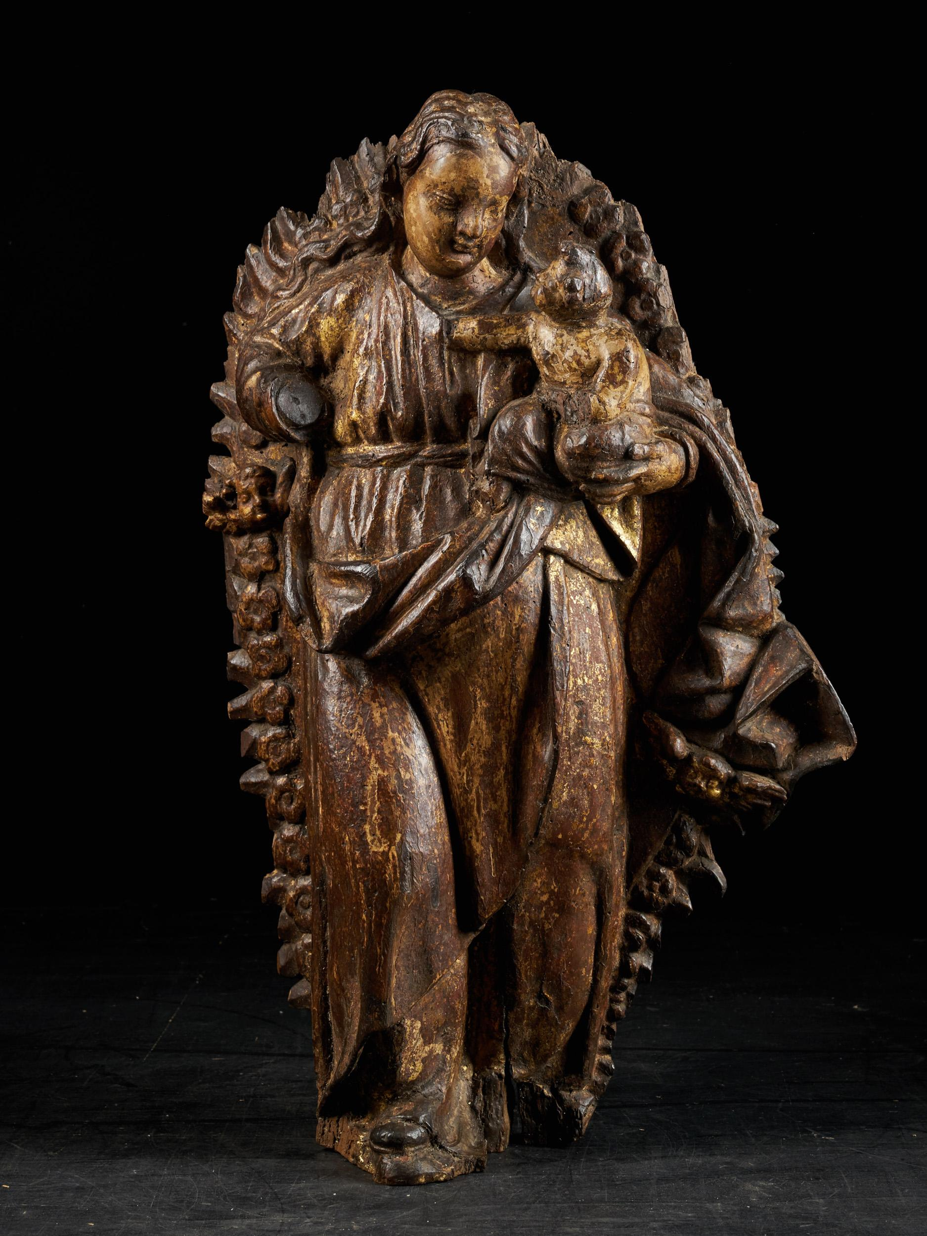 Spanish School, Gilded Sculpture of the Virgin and Child, Gilded Wood