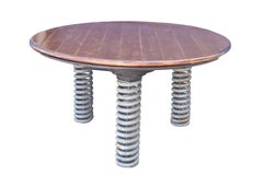 Spring Table, three leg wood and metal table