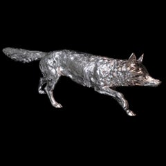 'Stalking Fox' a Limited Edition Sterling Silver Sculpture by Hancocks