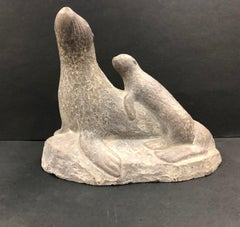 Stone Carving of a Mother and Baby Seal-Abbott Canada