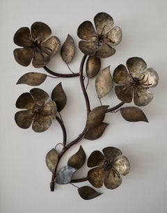 Style of C. Jeré Metal Wall Sculpture of Stylized Flowers