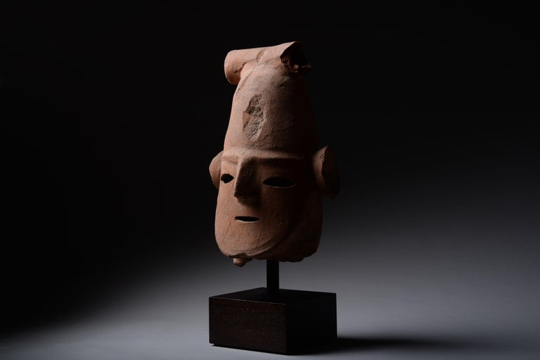 Superb Ancient Japanese Haniwa Head - Black Abstract Sculpture by Unknown