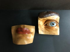(Title Unknown) Painted Eye and Lip Sculpture
