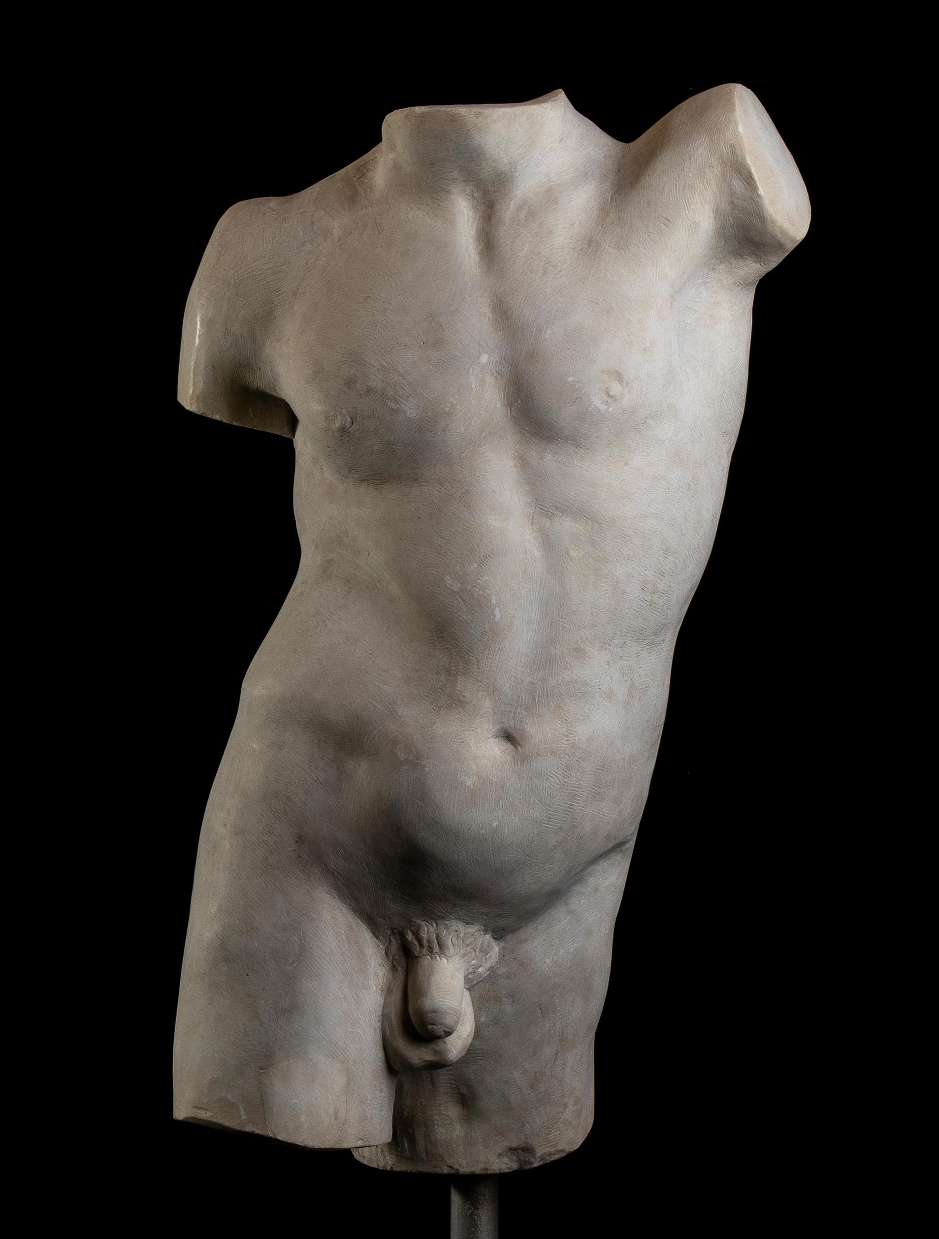 Torso Marble Sculpture of a Man or Athlete Roman Classical Style Italian 20th