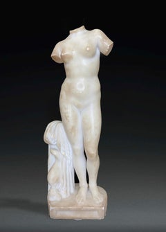 Torso Sculpture of Aphrodite in White Alabaster Marble Italian 19th Century