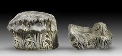 Two Fragmentary Marble Corinthian Capitals Roman Empire 2nd Century AD
