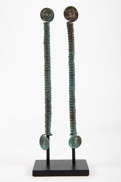 Two spiral pins fibula, Hallstatt, 1st Iron Age, Bronze, Sculpture, Antiquities