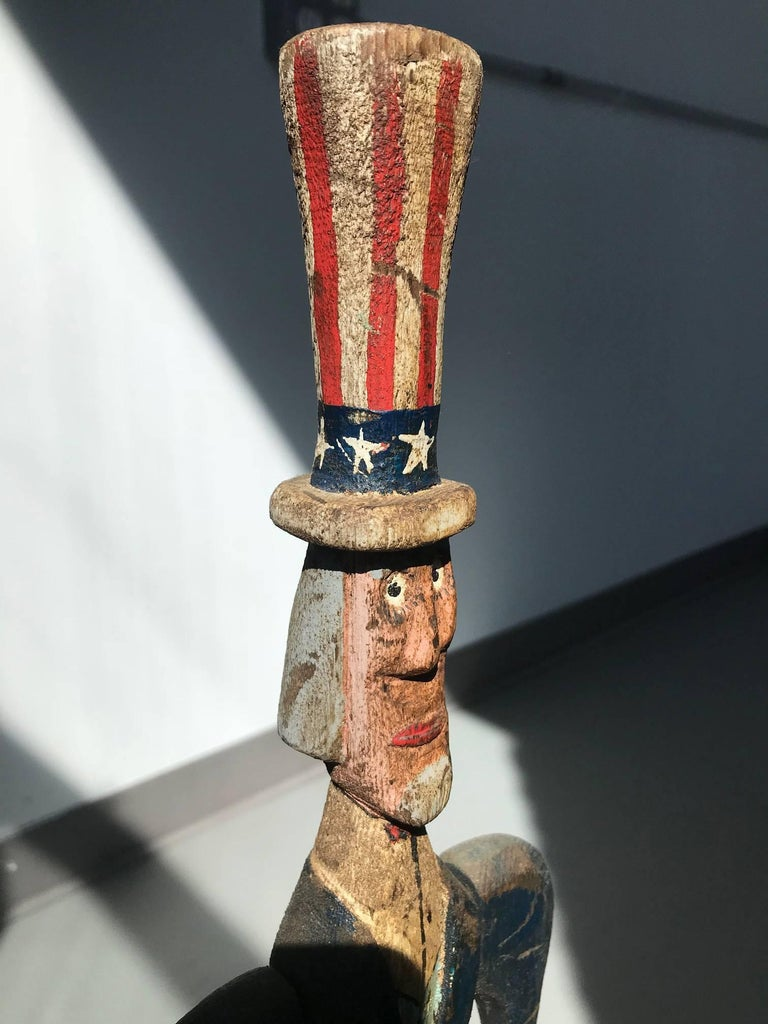 Uncle Sam - Brown Figurative Sculpture by Unknown