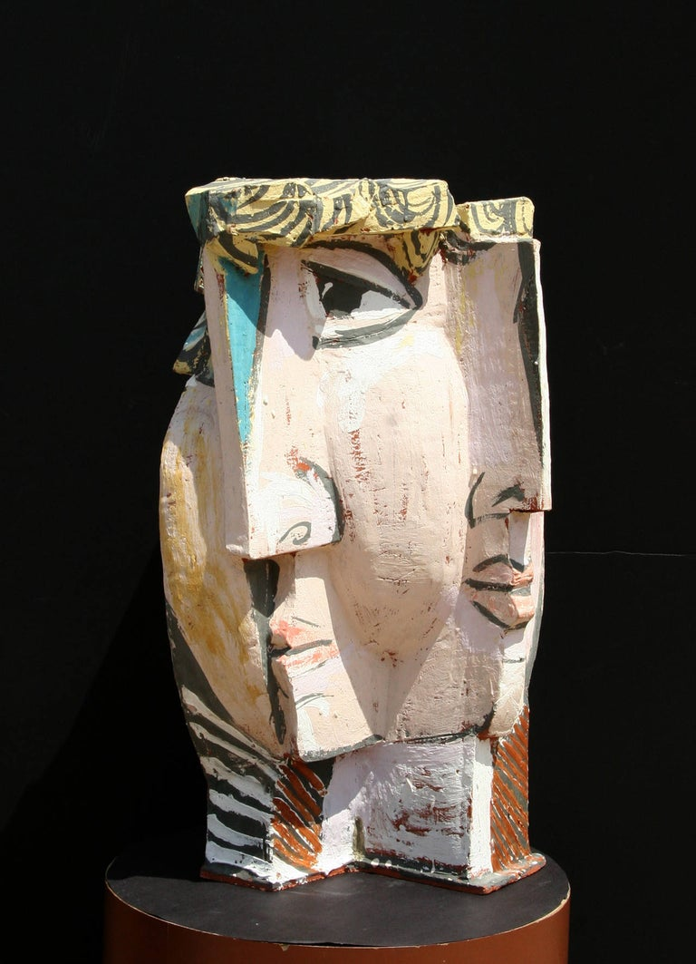 Artist: Unknown, in the style of Pablo Picasso Medium: Painted Terracotta Sculpture Size: 27 tall x 15 x 12 inches