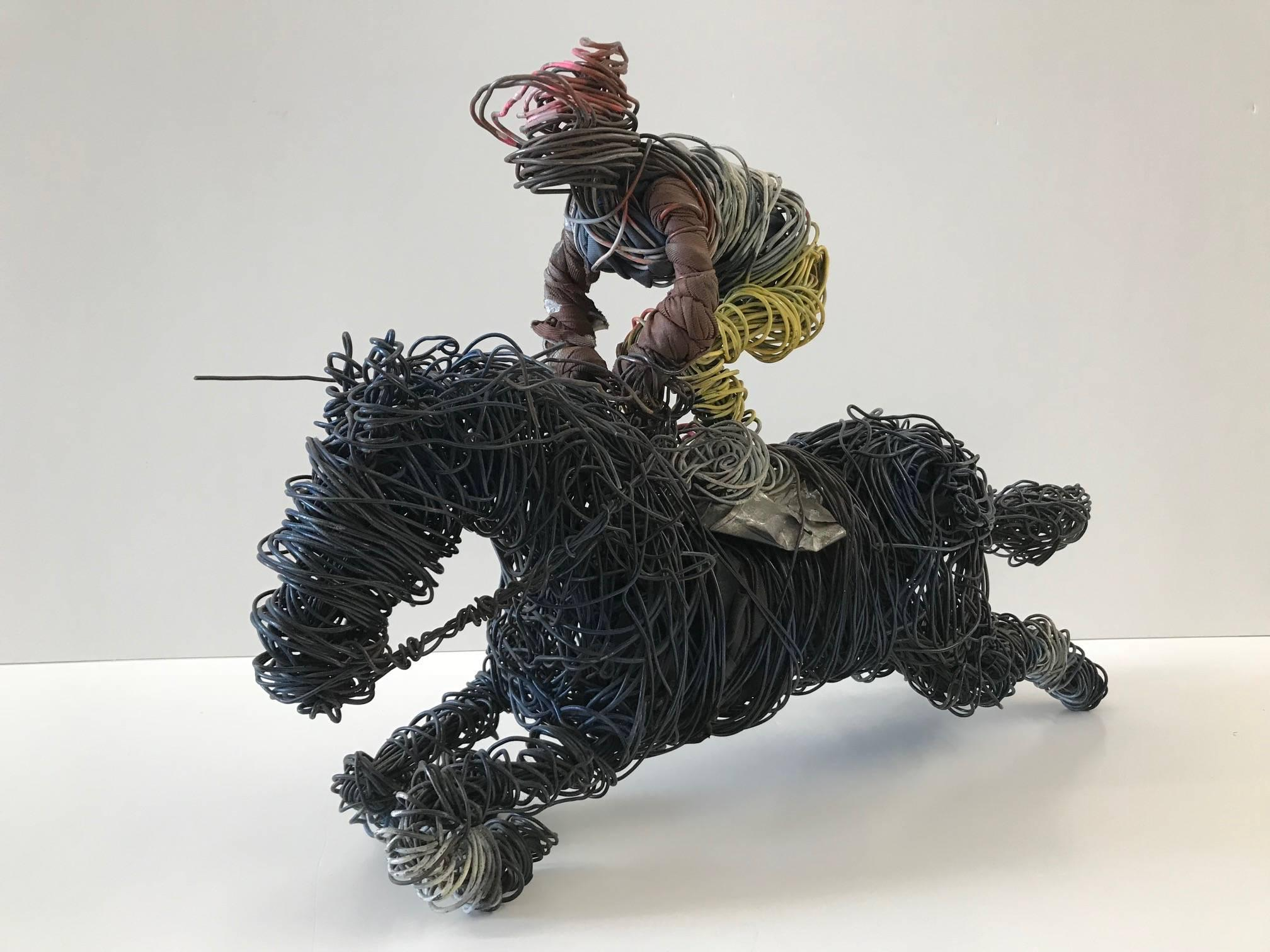 Untitled (Wired Jockey on Horse Sculpture)