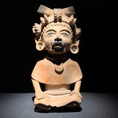 Veracruz Mexico Pre-Columbian ceramic Warrior figure sculpture