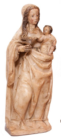 Virgin and Child in alabaster around 1500, Spain